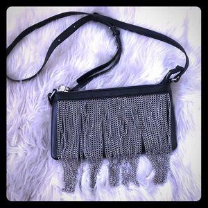 Steve Madden Chain Fringe Black Crossbody Bag